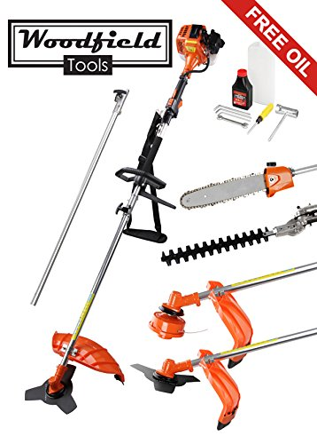Woodfield 52cc 5 in 1 Garden Multi-Tool - Brush Cutter, Hedge Trimmer, Strimmer, Pruner and Extension Pole ***FREE OIL***