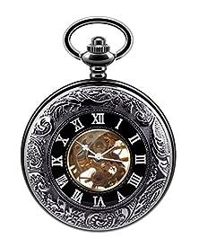 buy Infinite U Cool Black Secret Roman Numerals Hollow Skeleton Steel Mechanical Movement Pocket Watch