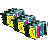 Generic Compatible Ink Cartridge Replacement for Brother LC-61 (Black/ Cyan/ Magenta/Yellow, 3 each)