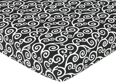 Fitted Crib Sheet for Purple and Black Kaylee Baby/Toddler Bedding by Sweet Jojo Designs - Swirl Print