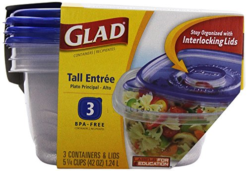 Glad Ware Tall Entree Food Storage Containers, 42 Ounce, 3 Ct