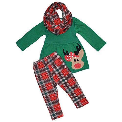 Unique Baby Girls 3 Piece Christmas Rudolph Legging Set (5T) Green