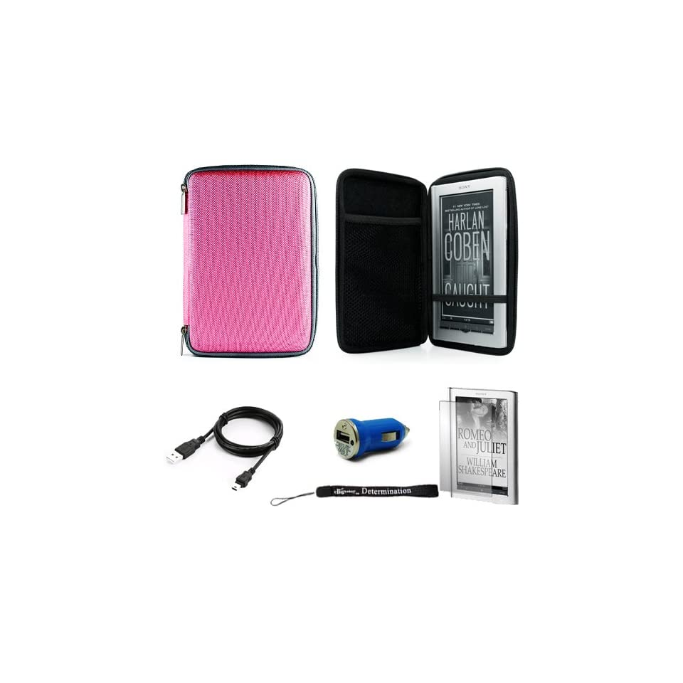 Pink Slim Stylish Hard Cover Nylon Protective Carrying Case Folio for Sony PRS 950 Electronic Reader eReader Device ( PRS 950 PRS950 )(Compatible with all colors) + Indlues a 4 Inch Determination Hand Strap + Includes a Anti Glare Screen Protector + Includ