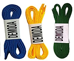 Demoda Flat Shoe Laces(Pack of 3 pair-Yellow,Blue,Green)