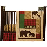 Trend Lab Northwoods 3 Piece Crib Bedding Set, Red/Tan