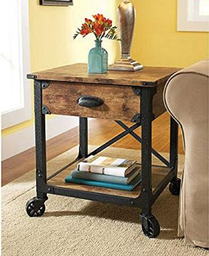 End Tables - Rustic Country Side Table, Antiqued Black/Pine Finish for Your Living Room with this antique looking end table