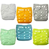 LOVE MY(TM) Baby Washable Reusable Cloth Diapers,breathable, Adjustable Snap, 6pcs Pack Pocket Cloth Diaper with 1 Inserts Each , 6 Pcs + 6 Inserts (Neutral Color)