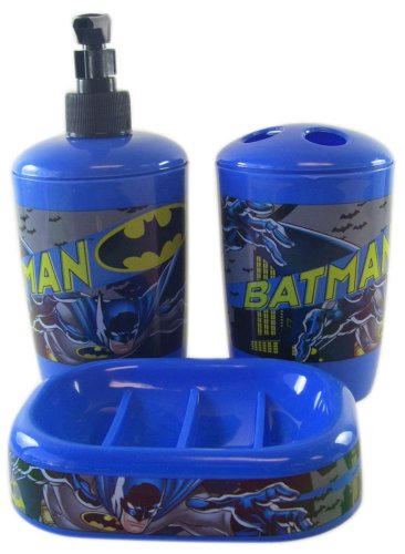 Batman Toothbrush, Soap/Lotion Pump, and Soap Tray Bathroom Set - Batman Bathroom Set ( 3pk)