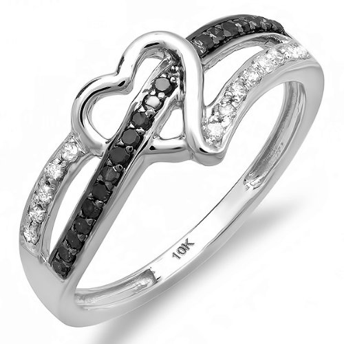 0.20 Carat (ctw) 10k White Gold Round Black and White Diamond Ladies Promise Heart Love Engagement Ring 1/5 CT
