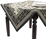 SARO LIFESTYLE 0080 St. Remy Square Tablecloth, 80-Inch, Black