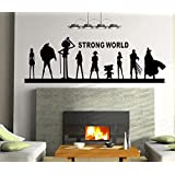 Rousmery Wall Decal Mural Sticker Anime Manga Poster Girl Naruto Final Fantasy Hero One Piece Quote Sign Words (Black)