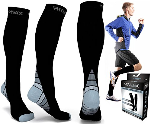 Compression Socks for Men & Women, BEST Graduated Athletic Fit for Running, Nurses, Shin Splints, Flight Travel, & Maternity Pregnancy. Boost Stamina, Circulation, & Recovery - Includes FREE EBook!