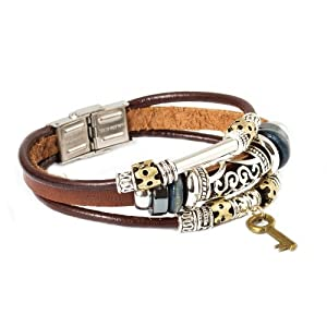 Father's Day Gifts Fashion Plaza Key Design Leather Zen Bracelet for Men, Women, Teens, Boys and Girls - 19cm- L7