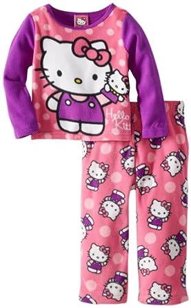 Hello Kitty Little Girls'  2 Piece Fleece Pajama Set, Multi, 2T