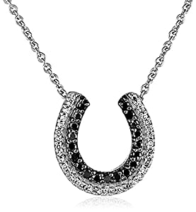 Sterling Silver Black and White Diamond Horse Shoe Necklace, 1/4 cttw