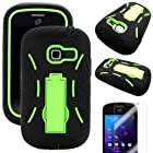 MINITURTLE(TM) Premium Durable Heavy Duty Hybrid Protective Hard Phone Case Cover with Built in Kickstand and Clear Screen Protector Film for Prepaid Net10, Straight Talk Android Smartphone Samsung Galaxy TracFone Discover S730G / Centura S738C (Black / Neon Green)