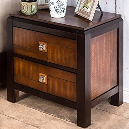 Duo-Tone Acacia and Walnut 2-Drawer Nightstand