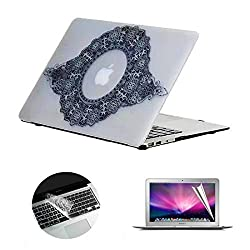 Se7enline Lace Dreamlike and Fancy Hard Shell Case Cover for Macbook Air 13 inch Models A1369/A1466,with Clear Silicone Keyboard Skin and Screen Protector for girl women, Wreath Pattern
