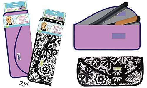 2pc Evriholder Case for Carrying Hair Styling tools Hot Iron Curling Iron & Flat Iron - Perfect for Travel & Gym - 1 Solid Color & 1 Print, As pictured (Flat Iron Holder Travel compare prices)