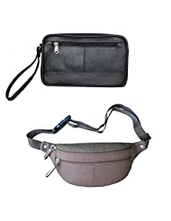 Style 98 Valentine's Day Special Waist Pouch And Sling Bag Combo Pack (Brown And Black) - B01BIUSQIS