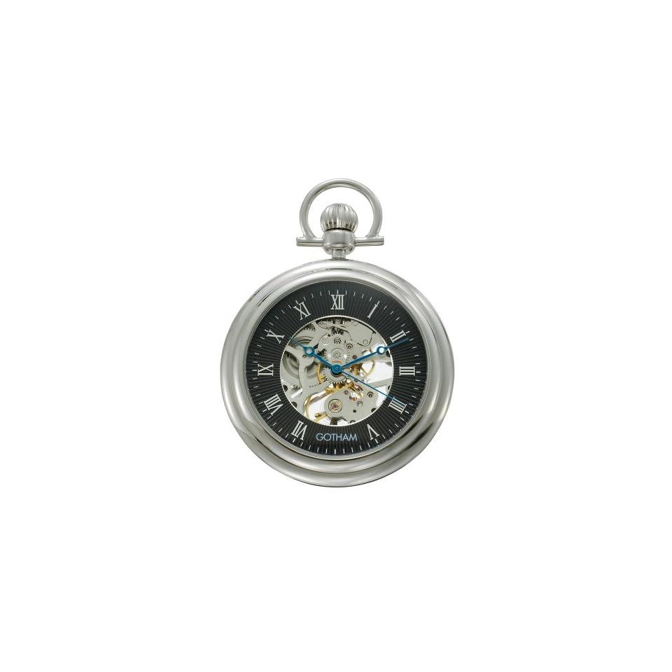 Gotham Mens Silver Tone Mechanical Pocket Watch with Desktop Stand # GWC14055SB ST
