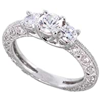 Sterling Silver Vintage Style Engagement Ring, w/ two 4mm (.25 ct) and one 5mm (.5 ct) Round CZ Stones, 3/16 (5mm) wide, size 7