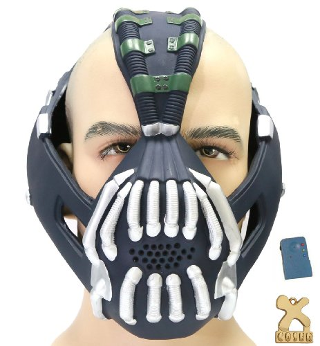 Halloween Bane Cosplay Mask with Voice Changer Modulator for Bane Jacket Coat Costume