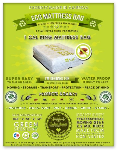 1 Cal King Or King Mattress Bag. Fits All Pillow Tops And Box Springs. Fits All Pillow Tops And Box Springs. Professional Grade, Heavy Duty Non Vented Eco Friendly Plastic. Ideal For Moving, Storage And Peace Of Mind. Protect Your Bed From Insect Infestat back-894622