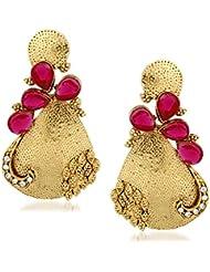 VK Jewels Sweet Pink Stones Gold Plated Alloy Drop Earring Set For Women & Girls -ERZ1312G [VKERZ1312G]