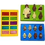 Kitchim Building Brick Candy Mold and Ice Cube Tray - Lego Figures and Bricks - Three Pack - Silicone