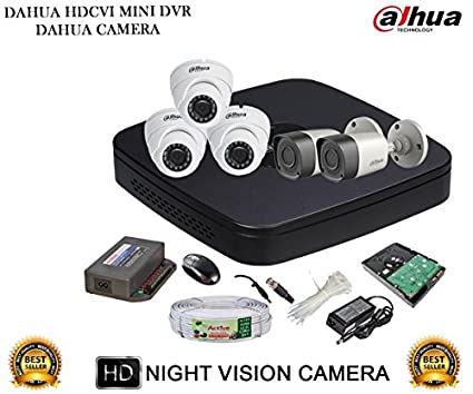 Dahua DH-HCVR4108C-S2 8CH Dvr, 2(DH-HAC-HFW1000RP) Bullet, 3(DH-HAC-HDW1000RP) Dome Camera (With Accessories,1TB HDD)