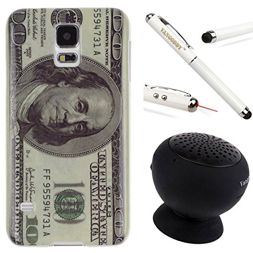 Snap-On Protective Crystal Hard Case Cover For Samsung Galaxy S5 / Sv + Stylus Pen + Black Bluetooth Speaker (100 Dollar Bill)