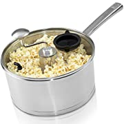 Zippy Original Pop & Roast Stainless Steel Stovetop Popcorn Popper with Glass Lid, 5-1/2 Quart Capacity