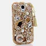 3D Luxury Swarovski Crystal Sparkle Diamond Bling Golden Purse pearls with Phone Charm Design Case Cover for Samsung Galaxy S4 S 4 IV i9500 fits Verizon, AT&T, T-mobile, Sprint and other Carriers (Handcrafted by BlingAngels®)