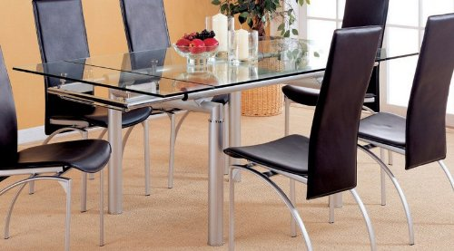 Cheap Dining Table with Glass Top Metal Frame Peal Silver Finish (VF_AZ00-45948×29734)