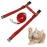 【ノーブランド品】ネコ用ハーネスリードセット 胴輪セット 全3色 (赤)