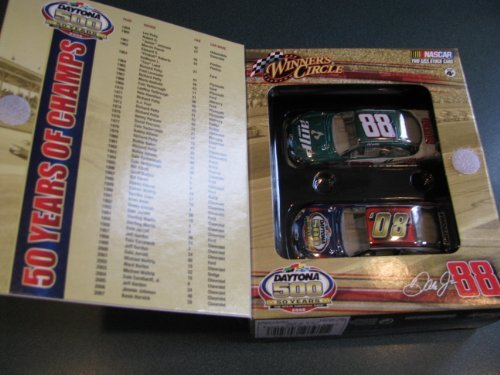 2008 Dale Earnhardt Jr #88 AMP Energy Green White Chevy Impala SS 1/64 Scale Car & 50th Running of Daytona 500 Commemorative 1/64th Scale Car Box Set With Past 50 Year Winners Flap Insert Winners Circle - 1