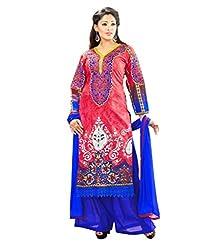 Admyrin Women Cotton Dress Material (Ay-Sk-Fg-7007 _Pink+Blue)
