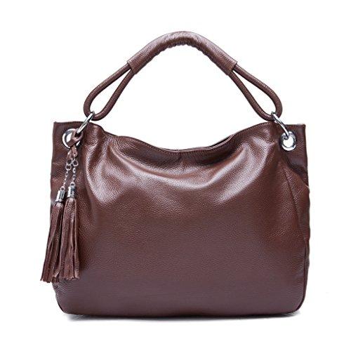 Iuhatop Grain Leather 2-Way Tassel Satchel(Dark Brown)