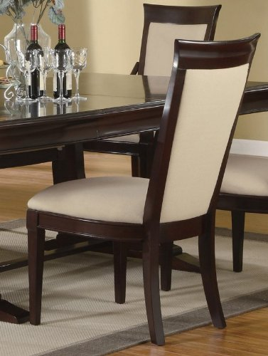 Buy Low Price Coaster Set of 2 Dining Chairs Floral Fabric Merlot Cappuccino Finish (VF_101942)
