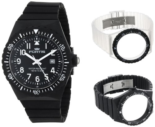 Fortis Colors C 704.01/02/40 Black Silicone Pop-Out Watch Set with additional White and Clear Strap