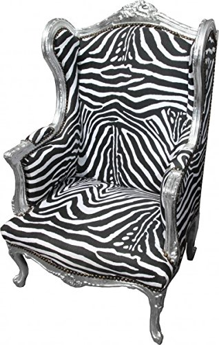 Casa Padrino Baroque Lounge throne Zebra / Silver - wing chairs - wingback chair Tron chair