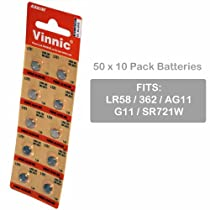 500 pcs Vinnic Size LR58 V362 362 AG11 Alkaline Watch Battery FAST USA SHIP