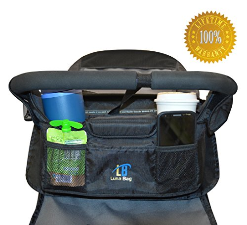 Stroller Organizer - highest quality Universal lightweight jogging accessory - 2 insulated cup holders and magnetic closures - durable & waterproof - travel & eco friendly - diaper bag for stylish mom