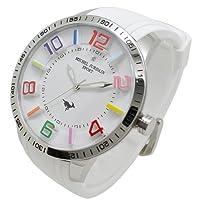[ミッシェルジョルダン]michel Jurdain 腕時計 1Pダイヤモンド ステンレス ケース シリコン ベルト ウォッチ ホワイト×ホワイト MJ-7700-5 メンズ