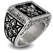 316L Stainless Steel Royal Empire Shield Cast Band Ring - Size 11