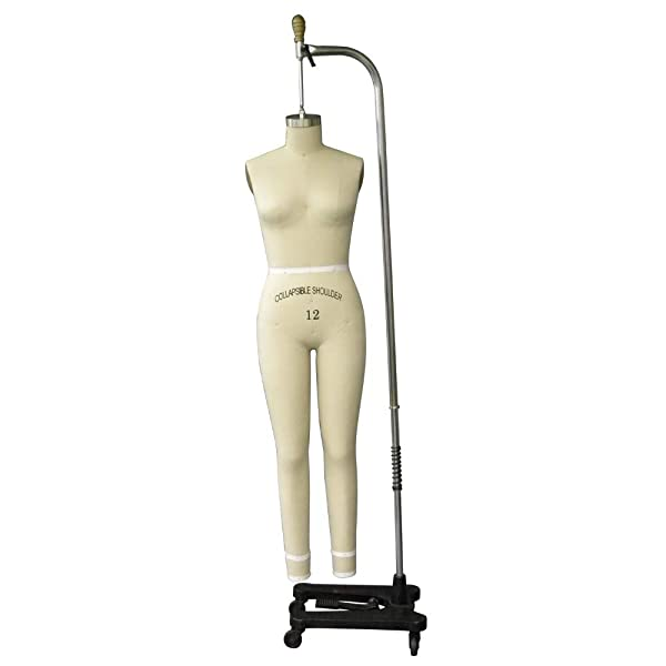 Adult Female Size 12 Full Body Professional Dress Form Pinnable Mannequin for Sewing with Right Arm #FULLSIZE12 (Color: Off White, Tamaño: Size 12)
