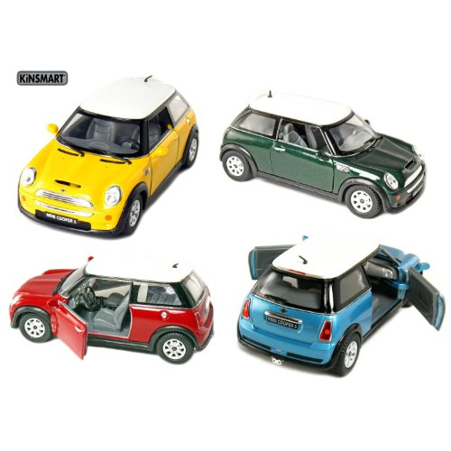 set-of-4-5-mini-cooper-s-128-scale-blue-green-red-yellow-by-kinsmart