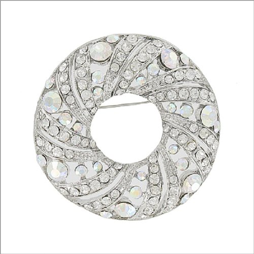 Circle with Crystal Stone Design Pin #041893