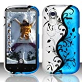 HTC Amaze 4g T-Mobile Accessory - Blue/Silver Vines Design Case Protective Cover
